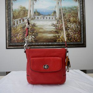 VINTAGE COACH Red Crossbody Leather Bag